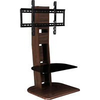 Tv Stand With Mount Included Up To 50'' Modern Unit Shelves Elegant Simple Brown