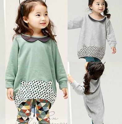 Elegant Kids Toddler Girls Long Tops Pants Outfit Sets Clothing Ages2-7Y