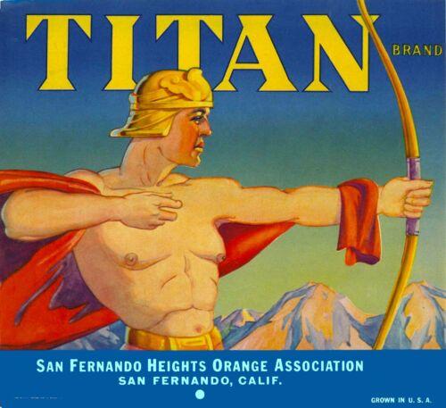 San Fernando Titan Roman Greek Warrior Orange Citrus Fruit Crate Label Art Print