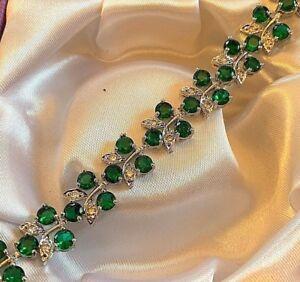 GB-White-gold-bracelet-green-emerald-sim-diamond-18cm-x-1-3cm-Plum-UK-BOXED
