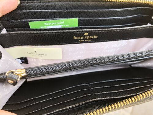 Kate Spade Champagne Print Pink Multi Lacey Zip around Continental Wallet