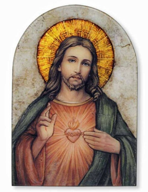 Sacred Heart of Jesus Icon 7 Inch Wood Arched Icon Plaque NEW (VC688)