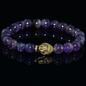 8MM-Amethyst-Bracelet-Reiki-Healing-mala-Stretchy-Wrist-Sutra-pray-Buddhism