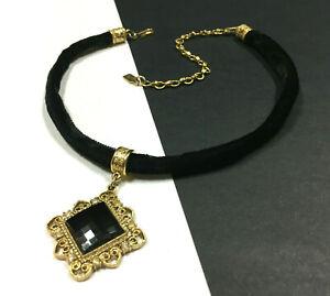 Vintage-1928-Black-Crystal-Choker-Necklace-Victorian-Black-Velvet-Gold-HH24K