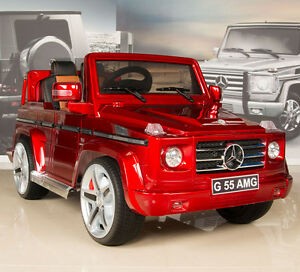 Red mercedes g55 amg 12v kids ride on car battery power for Red mercedes benz power wheels