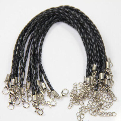 5//20Pcs Braid Anklets Leather Rope Cord Bracelet Lobster Clasp Craft Making 24CM