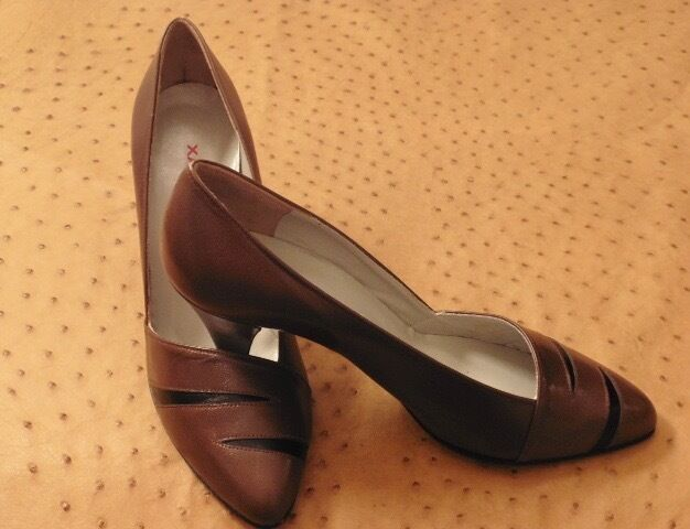 GREAT SHOE VINTAGE HEEL XAVIER DANAUD PARIS ALL LEATHER VINTAGE SHOE 1980 NEW T.38.5 9fdb5d