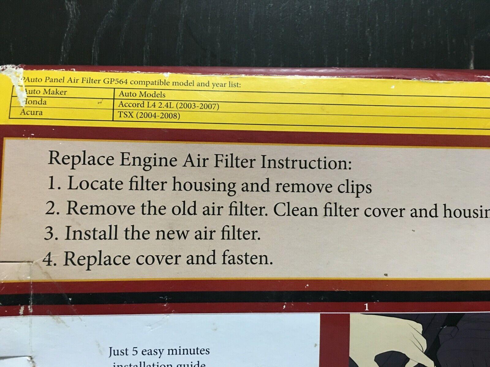 Honda/Acura Replacement Extra Guard Rigid Panel Engine Air Filter ...