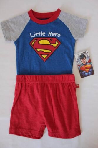 NEW Baby Boys 2 Piece Set 3-6 Months Superman Bodysuit Shorts Outfit Superhero
