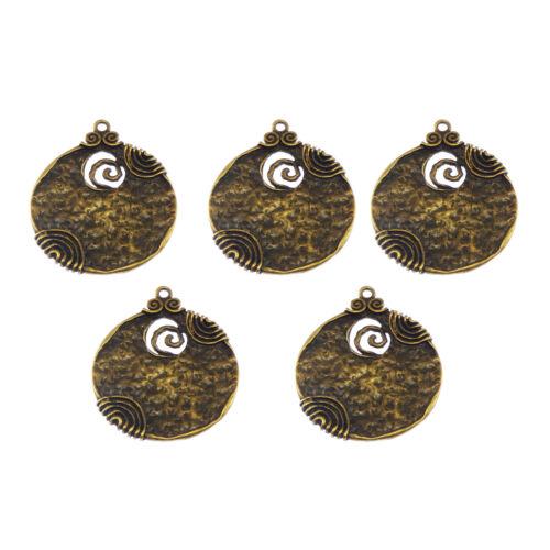Antique Style Bronze Tone Alloy de forme ronde Charme Pendentifs Crafts 6pcs 01744