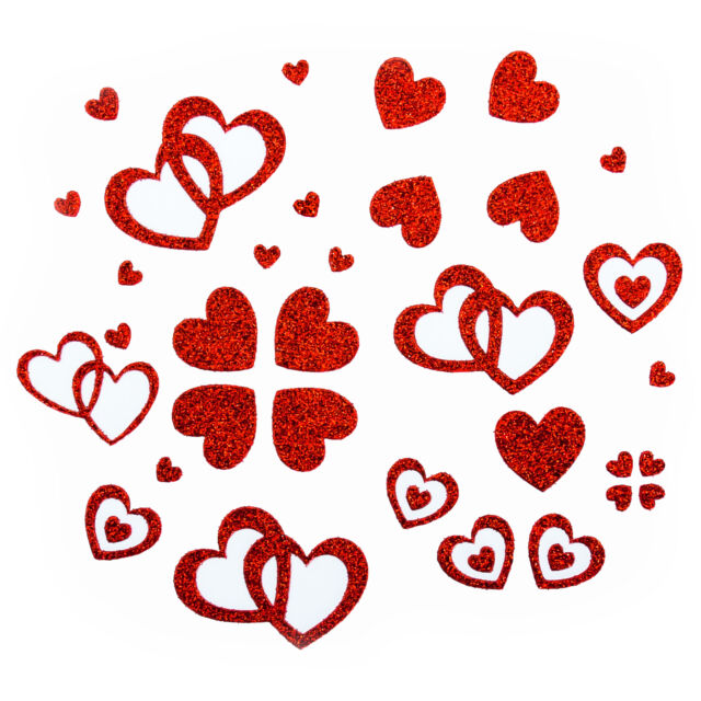 Herzen Sticker in Rot -  Glitter Glitzernde Herzen