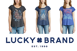 NEW-Lucky-Brand-Women-039-s-Graphic-Tee-VARIETY-Short-Sleeve-NEW-PATTERNS-amp-COLORS