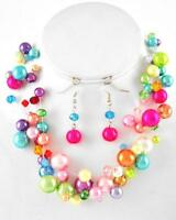 Four Strand Multi Color Glass Faux Pearl Exclusionary Necklace Earring Set