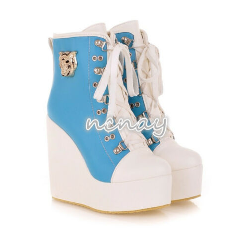 Women Wedge Heel Plateform Sneakers High-TOP Shoes Lace Up Ankle Boots Plus Size