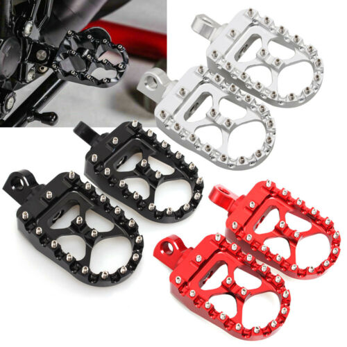 Wide MX Style Foot Pegs Rests Pedals Bobber For Harley Sportster Softail Dyna