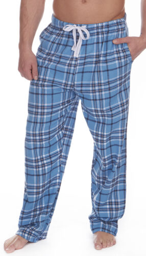 Mens Bed Shorts Lounge 100/% FLANNEL Cotton Pyjama Full Length Check Brushed Blue