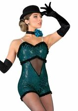 Dance Costume A Wish Come True Emerald Green Black Jazz Tap Sz Med Adult M ~ KH