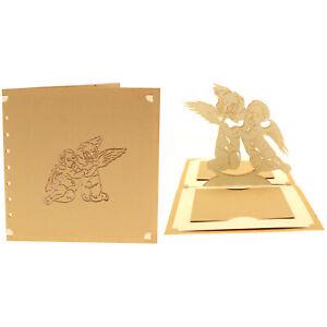 CARTE AMOUR ANGELOTS POP-UP KIRIGAMI 3D 180° 145x145 BEIGE/ECRU + ENVELOPPE