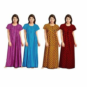 Women's Cotton Printed Nighty Multicolor Pack of 4 Free Size Color may vary
