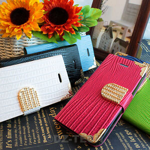 For-iPhone-5C-Crocodile-Bling-Diamond-PU-Leather-Wallet-Flip-Pouch-Case-Cover
