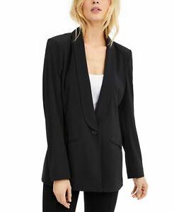 INC Women Jacket Classic Black Size Medium M Single Button Shawl Collar $99 #391