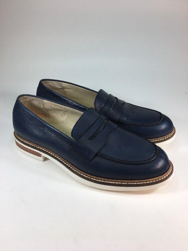 BOEMOS Nearly NEW Navy Pelle Penny Loafers Scarpe Donna Taglia 6.5 M EU37