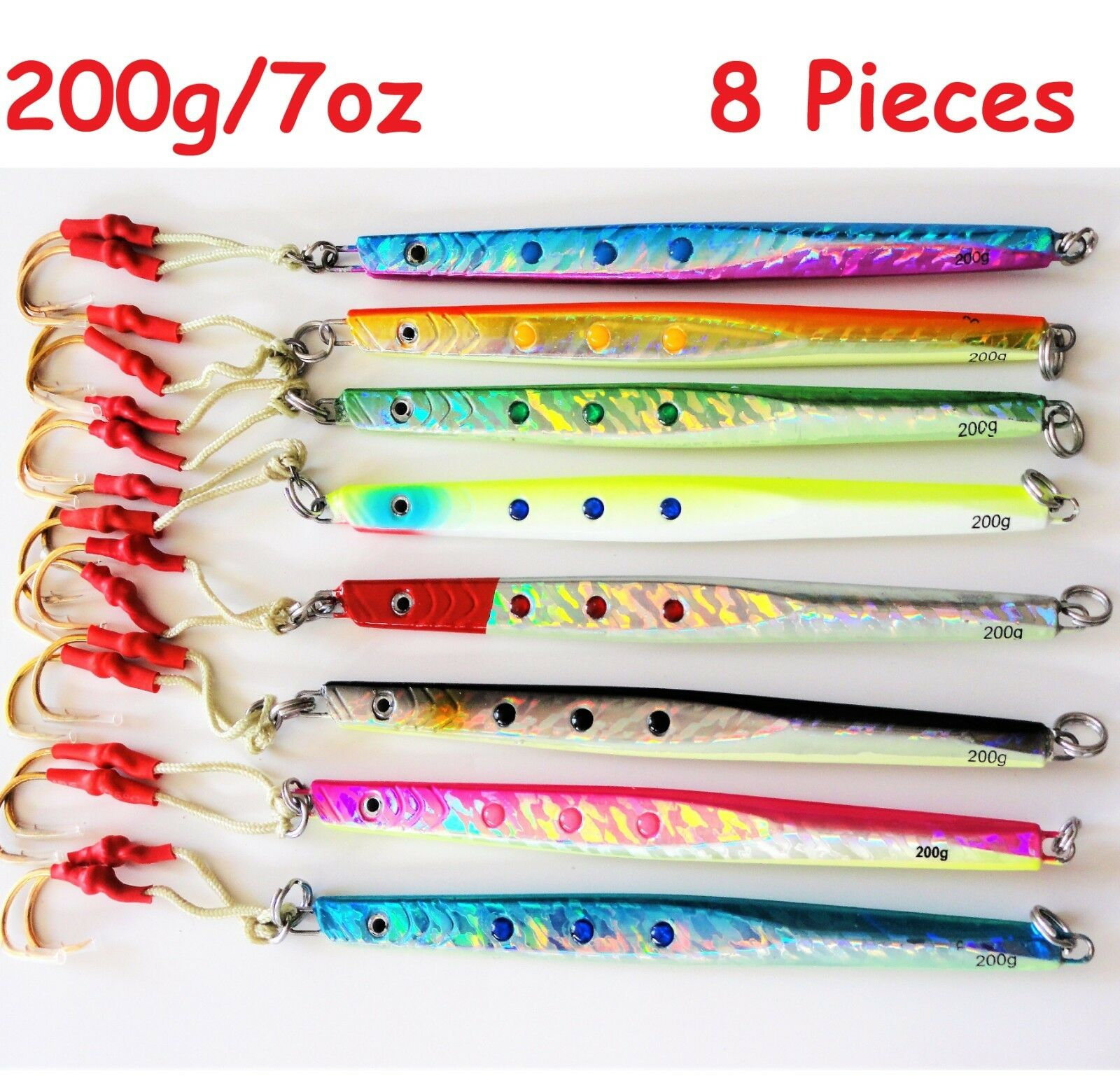 8 pcs 7oz  200g 8.5  Speed greenical Knife Butterfly Jigs Saltwater Fish lures