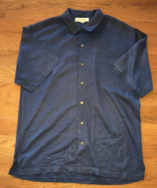 Tommy Bahama Mens Navy Blue 100% Silk Hawaiian Shirt Size L