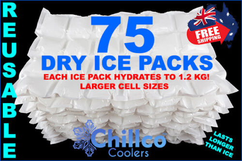 HYDRATES TO 1.2 KG 75 X SHEETS DRY GEL ICE PACKS DRY ICE PACKS REUSABLE