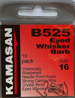 KAMASAN B525 Eyed Whisker Barb Size 18 ....10 Hooks in pack