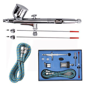 Dual Action Airbrush Set 0.2/0.3/0.5mm Needle Air Brush Spray Gun Paint Art ofus