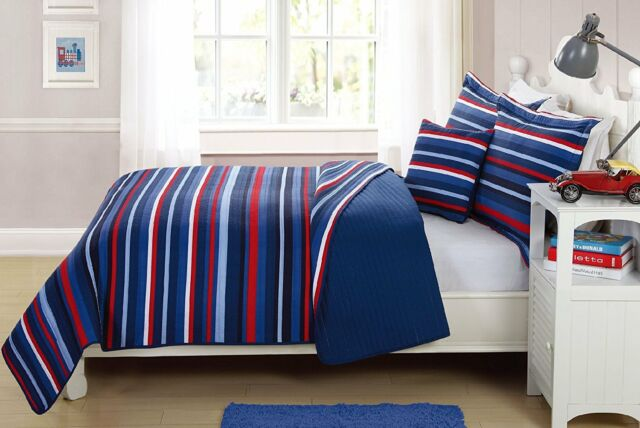 Fancy Linen 3pc Twin Size Bedspread Striped Navy Blue Red White Reversible New