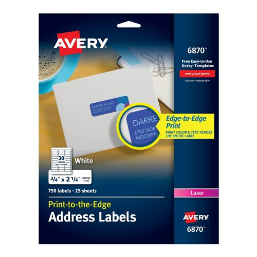 """Avery Print-to-the-Edge Laser Address Labels 3//4/"""" x 2 1//4/"""" White 437192"""