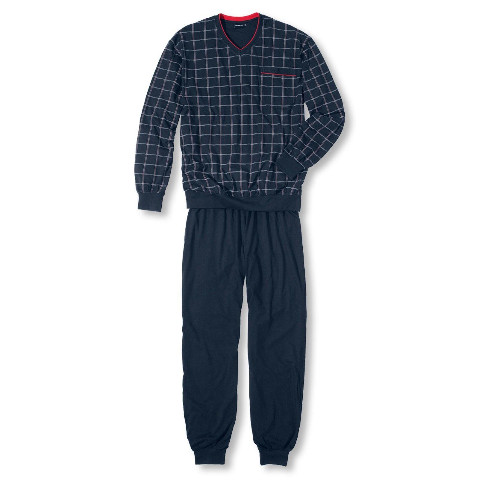 de8c7bc9efa855 Herren Pyjama Set Schlafanzug langarm Antonio S M XL XXL 3XL L Götzburg  npwegs6085-Nachtwäsche