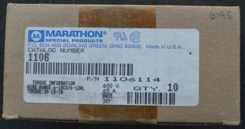 MARATHON 1106 1106114 6-18CU//12AL 6 WIRE 65A 600V TERMINAL BLOCK NEW