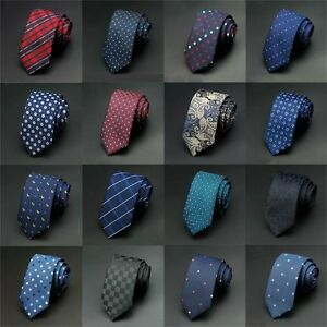 Hot-Men-039-s-Jacquard-Woven-Business-Party-Wedding-Narrow-Skinny-Slim-Tie-Necktie