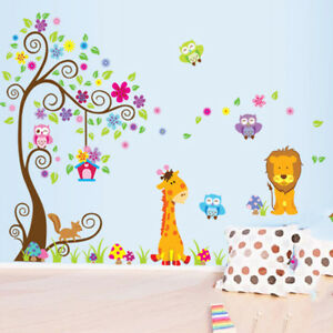 Image Is Loading Removable Wall Stickers Cute Lion Giraffe Owl Tree
