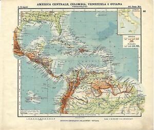 Cartina Geografica America Centrale.Dettagli Su Carta Geografica Antica America Centrale E Meridionale 1914 Old Antique Map