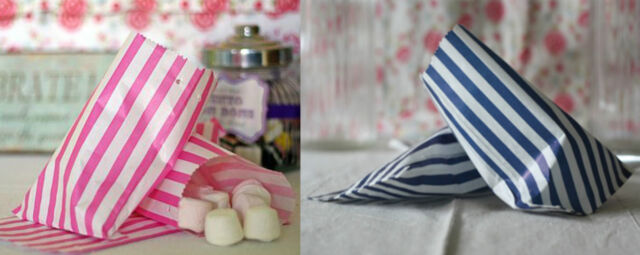 "Candy Stripe Pick N Mix Sweet Kids Party Paper Bags 5x7"" 7x9"" Pink Blue White"
