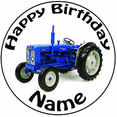 """20cm Personalised Vintage Tractor Icing Cake Topper Round Easy Pre-cut 8/"""""""