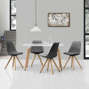 À Manger avec 4 Chaises Blanc/Gris [120x70cm] Table Chaises Salle à ...