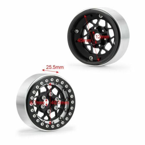 "4Pcs Silver 1.9/"" Metal Beadlock Wheel Rim For 1//10 RC TRX4 SCX10 90046 D90  US"