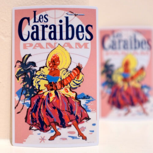 """#3628 Caraibes Pin Up girl Pan Am airline Luggage Label 4x3/"""" Decal Sticker"""