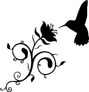 Humming Bird With Vine Flower Silhouette Wall Vinyl Decal Ebay