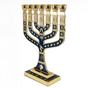 Blessed-7-Branched-Blue-Menorah-Candle-Holder-from-Jerusalem-Holy-Land-7-034-18cm