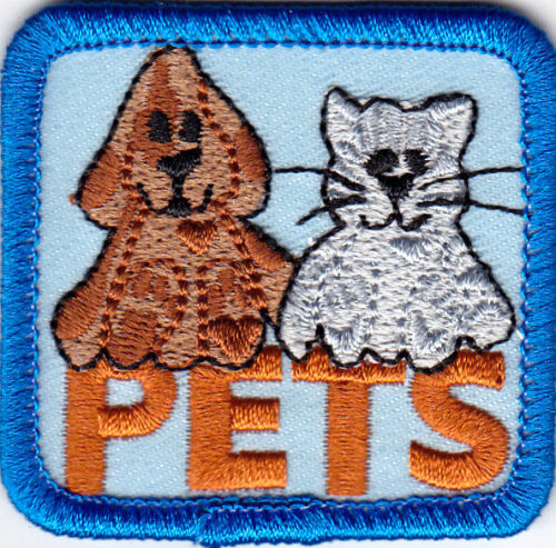 """/""""PETS/"""" Iron On Patch Animals Cats Dogs Puppy Birds Fish Hamsters"""
