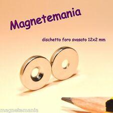 8 MAGNETI NEODIMIO FORO SVASATO 12x2 mm  CALAMITA CALAMITE MAGNETE