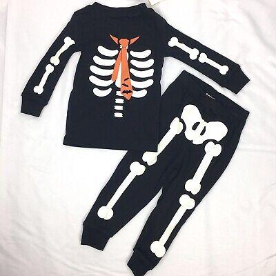 NWT Gymboree Skeleton Costume Glow-in-the-Dark Gymmies Sleep Set Pajama Boys 14