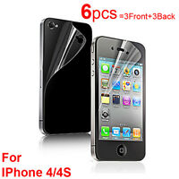 6X Clear Screen Protector Guard Film (3Front and 3Back) for Apple iPhone 4 4S
