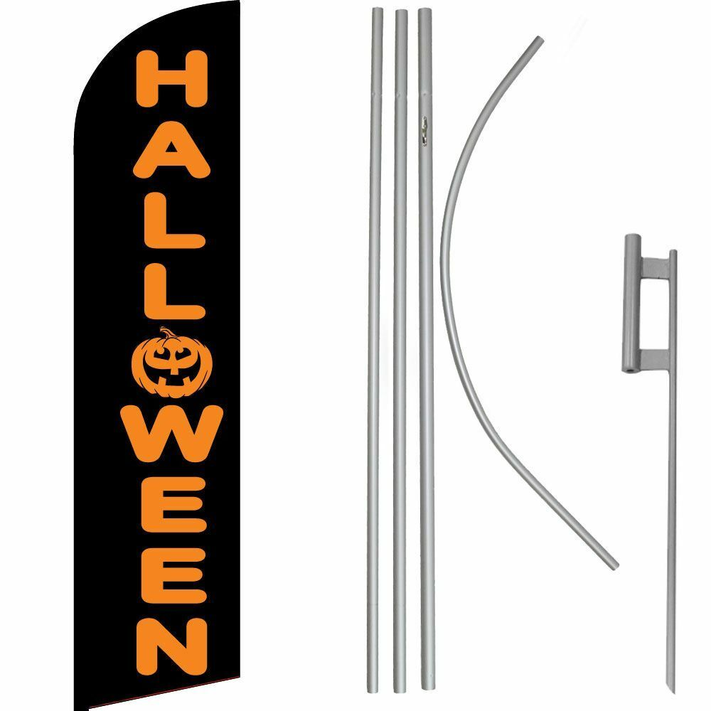 Halloween Halloween Halloween Schwarz   Orange Windless Fahne Flagge & 4.9m Fahnenmast Set   Boden 8aaada
